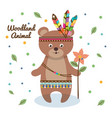 woodland animal with feather crown vector image