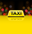 Yellow taxi car roof sign at night vector image vector image