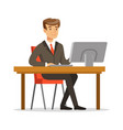 young businessman working on his computer vector image vector image