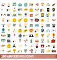 100 advertising icons set flat style