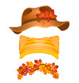 a set stylish hats and headdresses in style vector image