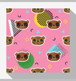 Animal seamless pattern collection with bear 9 vector image vector image