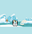 animals and people of north pole arctic landscape vector image