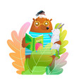 bear teddy and rabbit reading book in nature vector image