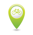 bicycle icon on map pointer green vector image vector image