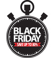Black friday save up to 80 stopwatch black icon vector image vector image