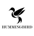 black logo a flying hummingbird eps 10 vector image vector image