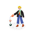 boy watering flower with watering can kids spring vector image vector image