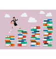 Business woman jumping over higher stack of books vector image vector image