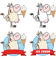 Cartoon animals with ice cream vector image vector image