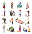 cat ordinary life isometric icons vector image vector image