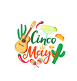 cinco de mayo hand drawn lettering 5th may vector image vector image