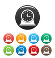 clock vintage icons set color vector image