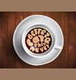 coffee cup with time lettering about better vector image vector image