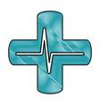 cross with ekg isolated icon vector image