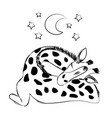 cute baby giraffe sleeping with a plush and a vector image vector image
