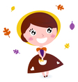 Cute girl with autumn leaves isolated on white vector image vector image