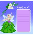 Doll forest elf in green dress with purple card vector image vector image