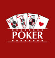 four playing hearts cards poker banner vector image