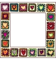 Frame with hand-drawn hearts in doodle frames vector image