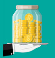 glass money jar full gold coins on tray vector image