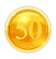 gold coin value 50 cartoon vector image