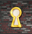 gold keyhole on old brick wall background vector image