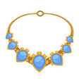 gold necklace with blue gems rococo style vector image vector image
