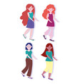 group young women cartoon character female design vector image