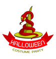 halloween costume party logo cartoon style vector image