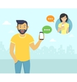 Happy guy is chatting with friends via messenger vector image