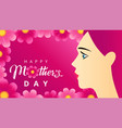 happy mothers day beautiful women on pink flowers vector image