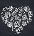 heart floral design with chalk roses vector image vector image
