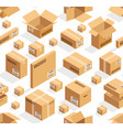 isometric cardboard seamless pattern vector image vector image