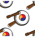 korean tambourine seamless pattern national vector image