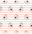 little birds stripe seamless pattern vector image
