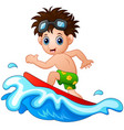 little boy surfing on a big wave vector image