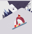 man on snowboard in snow mountains winter vector image