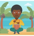Man playing tomtom vector image vector image