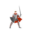 medieval knight ready for battle without helmet vector image vector image