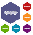 monorail train icons set vector image vector image