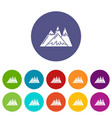 mountains icons set color vector image