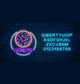 neon glowing sign of donuts in circle frame with vector image vector image