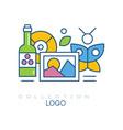 original hobby emblem with bottle of wine vector image vector image