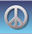 peace symbol on blue background with shadow vector image vector image