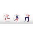people training in gym set male and female vector image vector image