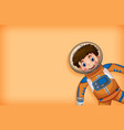 plain background with happy astronaut in orange
