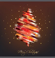 red christmas tree in modern vibrant style symbol vector image
