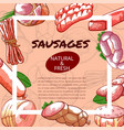 sausages and salami poster with copy space vector image