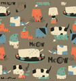seamless pattern with cute crazy cats and vector image